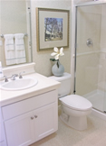 Small shower room design Bury St Edmunds with space-saving bathroom furniture